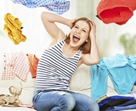 Woman finding ways to get rid of clutter