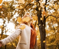 Woman learning reasons why fall is good for her