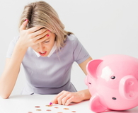 Woman having financial problems