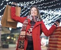 Woman avoiding credit card debt over the holidays