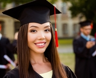 Woman smiling on graduation day