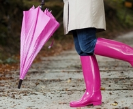 Woman wearing best rain boots