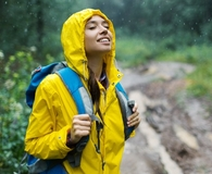 Woman wearing best rain jacket
