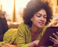 Woman using best e-reader