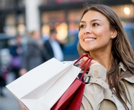 Woman effectively resisting impulse buys