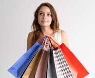 Woman trying to resist impulse buys