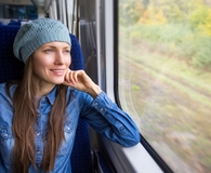 Woman taking unforgettable train ride