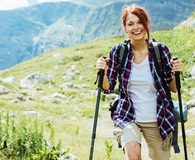 Woman using best trekking poles