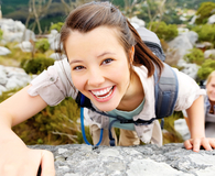 woman climbing hiking