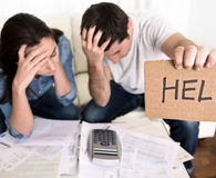 Young couple in bad financial situation