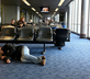 sleeping on airport floor