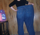 woman in huge jeans