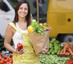 woman organic food shopping