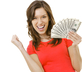 Woman holding cash she made online