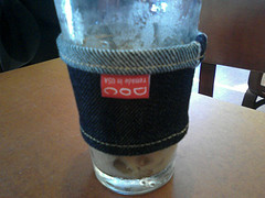 denim coffee cozy