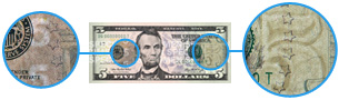 Watermarks on new $5 bill