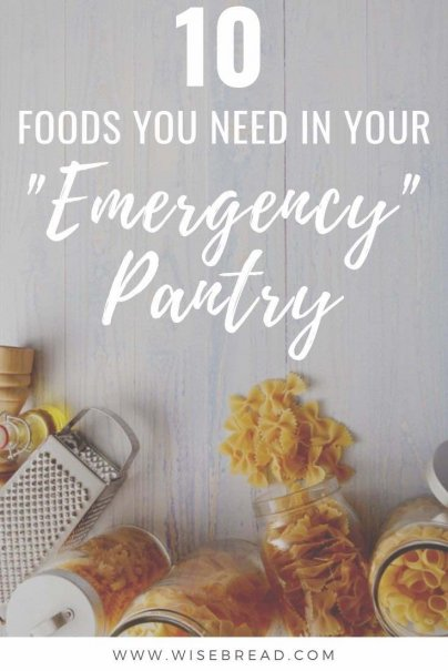 Rather than blowing your budget on eating out, try keeping these staples on hand for quick, inexpensive meals. We've got 10 pantry, freezer or refrigerated food items to have around! | #frugal #pantry #emergencysupplies