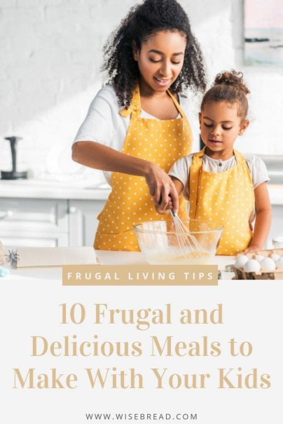 Teaching your children how to cook has some great benefits! Give it a try with these 10 frugal, fun recipes to make with your kids. | #frugalliving #funactivities #cookinglesson