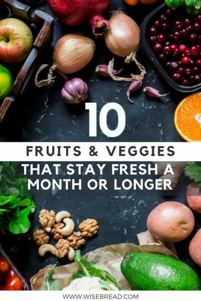 Want to know which fruits and vegetables are long lasting food? Whether its for camping, storage, or you like to do one big shop in a month, these are the tips on what will last for a month or more, and how to store them! | #frugalliving #foodstorage #kitchenstorage