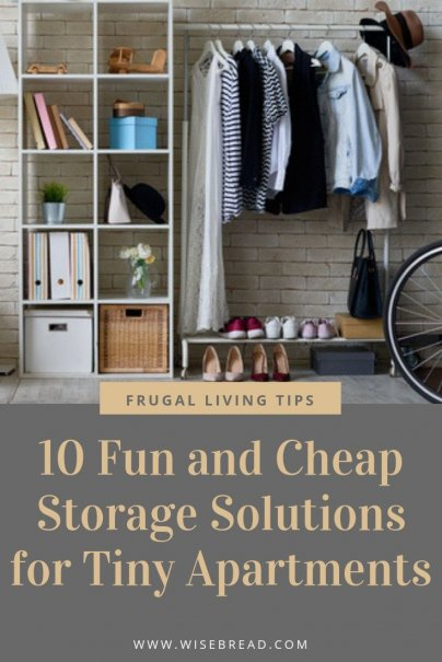 Have a tiny apartment? Create more space by investing in these 10 and cheap storage solutions! From DIY hacks, to book shelves, hooks and more, we've got the tips to help you organize your space! | #storage #frugalliving #hometips