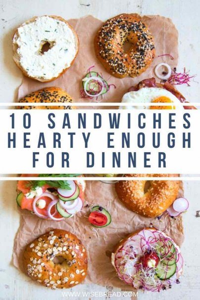 Sandwiches for dinner? Here's a creative list of sandwiches that will save you time in the kitchen while also keeping your family happy and full. | #bagelrecipes #sandwhiches #cheapdinner
