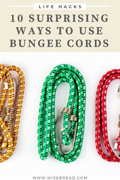 Bungee cords are handy little things for securing items, they come in a wide variety of lengths, and they're cheap and budget friendly. They're also really, really versatile. Here are 10 useful and creative ways to use your bungee cords. | #homehacks #hometips #bungeecords
