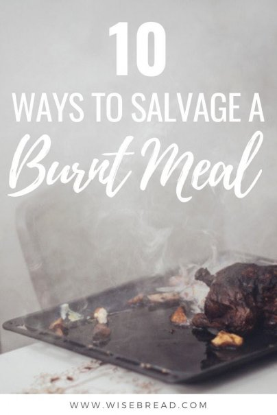 Did you burn your meal? Whether its a burnt turkey, blackened rice, or one of these overcooked dishes, we've got some great ways to salvage your meals so you don['t have to waste them! | #frugalhacks #cooking #frugalfood