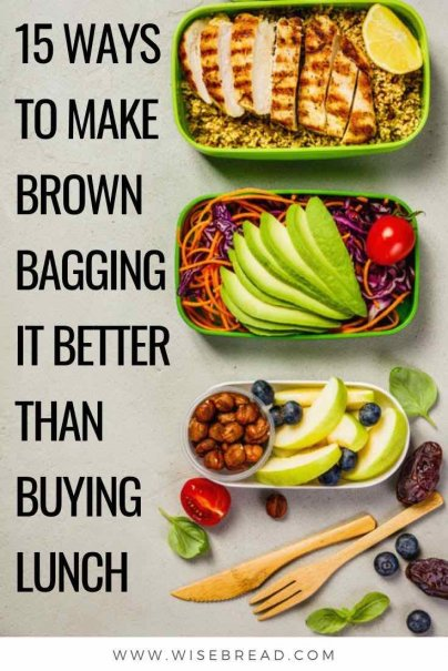 By taking your home packed lunches, you can save more money and be healthier. Here are 15 ways to achieve brown-bagging success. | #frugalliving #homemade #lunches
