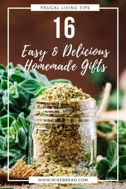 Forget that dry soup mix and heavy-as-a-rock fruitcake — homemade, edible gifts can be a real treat, not to mention being very economical. Surprise your friends, families or colleagues with these tasty (and easy) DIY homemade gifts! | #DIYgifts #homemade #frugalliving