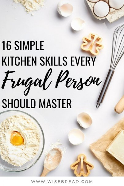 Would you rather eat out than cook? You aren't alone. All of that eating out takes a toll, though, on your budget and your health.Here are 16 simple kitchen skills that every frugal person should, and easily can, learn. | #frugalhacks #frugaltips #cheapfood