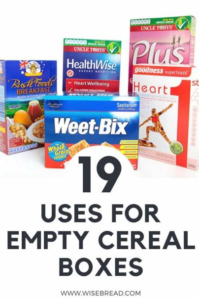 Want to know some great ways to upcycle your cereal boxes?Here are 19 ways you can satisfy your craving for cereal while also saving money and the environment. | #cereal #sustainable #upcycle