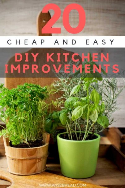 Cook, clean, repeat. Are you ready to lighten your load a little, or cheer up your kitchen space? From ditching the drawers, to changing your storage and shelf space, or planting some herbs  If so, here are 20 fun and easy improvements. #homedecor #homeimprovements #DIY #kitchen