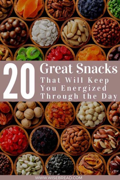 A snack can be a fantastic energy boost, but try your best to avoid those vending machines. Here are 20 great snacks to keep you motivated and satisfied through the day. | #snacks #thriftyfood #frugalfood