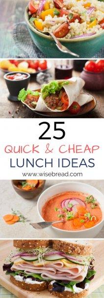 25 Szybkie, tanie pomysły na lunch