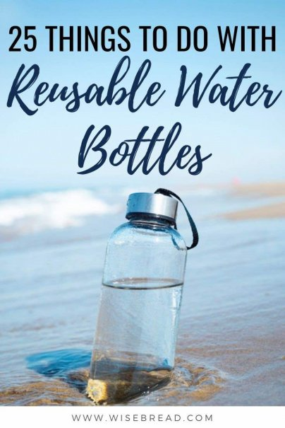 Do you have a couple of reusable water bottles? Here are some great things to do with reusable water bottles. | #reusablebottle #sustainable #upcycle