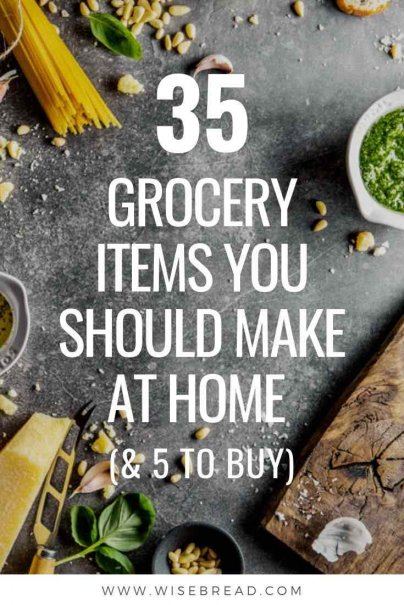Did you know that some items on your grocery shopping list are cheaper and easier to make at home! Check out these 35 items them you can DIY yourself, its more sustainable and healthy! | #homemade #frugal #cooking