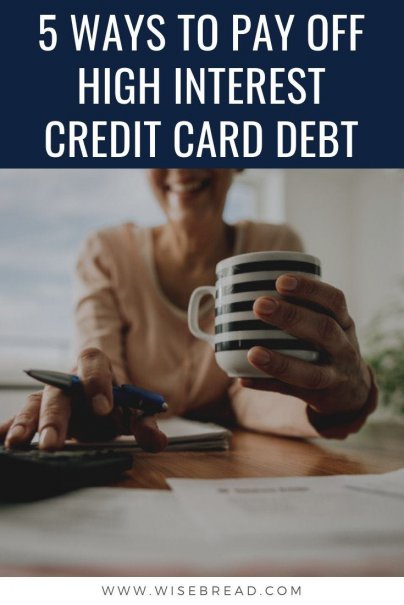 Credit card debt is one of the most costly forms of debt. If you've got a high interest credit card debt, here are five ways that you can pay off the debt, so you can gain some financial control. | #financetips #debtadvice #budget