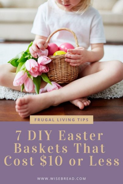 Want to have a cheaper and frugal easter with your families? Try one of these DIY easter baskets that you can make for under $10. We've got plenty of ideas, for girls, boys and toddlers that are cheap and easy to make! #cheapeaster #DIYeaster #frugalliving #eastercrafts