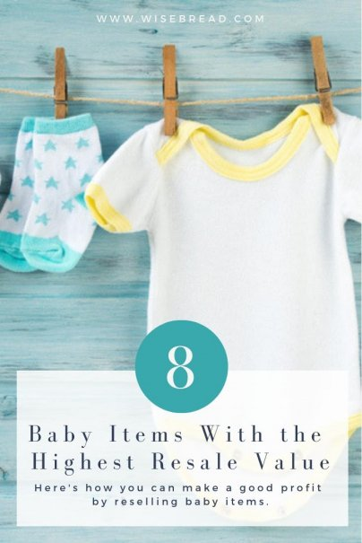 You can find good quality baby items at thrift stores, garage sales, and consignment shops to resell for profit. Once you're done with an item, sell clothing on a site like eBay, and sell bigger items, like baby gear, on Craigslist, OfferUp, consignment shops, or local Facebook groups. | #resell #frugalliving #babyclothes #babygear