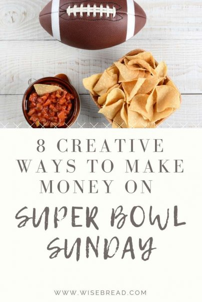 Super bowl sunday is not only an opportunity to celebrate drinks, appetizers and football with friends, it is also a great way to earn extra cash! From providing a party setup service, driving for lyft or uber, to influencer marketing programs, we've got 8 creative ways you can make money and line your pockets with cash! | #superbowlsunday #superbowl #sidehustle