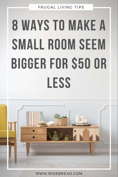 There may not be a budget-friendly way to actually make your home larger, but there certainly are ways you can make it seem larger. These are the tips and tricks to make a small room seem bigger for $50 or less. | #minimalism #declutter #homehacks