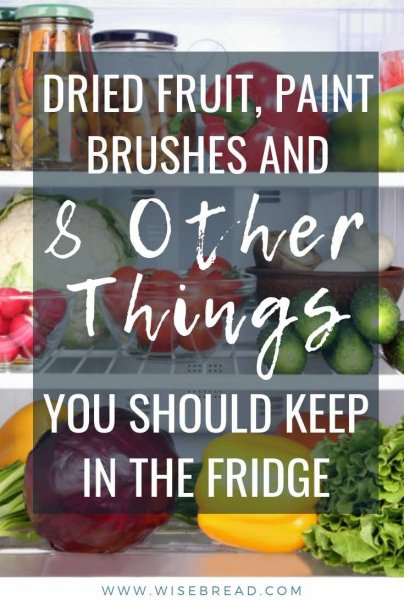 Did you know your fridge is good for keeping a variety of things other than the standard perishables? From paint brushes, to medications and bulbs, here are 10 things that will benefit from being added to your fridge. | #kitchenhacks #housekeepinghacks #housekeeping