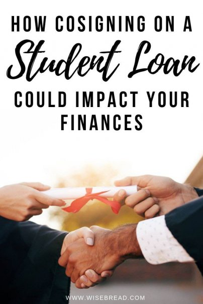 Cosigning on a student loan can be a huge risk. Here's everything you need to know how cosigning on your students college loan can impact your personal finances. | #finances #personalfinance #studentdebt