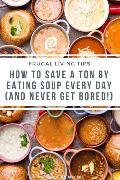 Did you know that you can spend $20 on food for two people for 2 weeks? Switching to a soup diet at dinner can save money, time and stress! Check out how we saved cash by having soup dinners! | #soup #frugalfood #thriftyfood