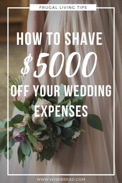 Want to know how to plan a cheap wedding? We've got the budget ideas to save you $5000 on your wedding! From the dress, to venues, decorations and more, our frugal ideas will save you money on your special day! | #frugalwedding #cheapwedding #weddinghacks