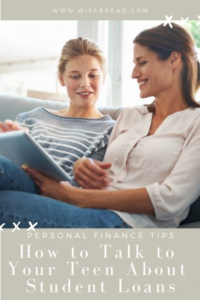 Is your teen thinking of applying for student loans? These are the tips and ideas on what to talk to your children about, from stats, to financial decisions to a payoff plan repayment. These are the types of things you need to discuss about college debt! | #debtadvice #studentloans #personalfinance