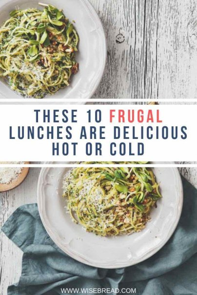 To keep lunches frugal, and quick and easy, cook a little extra for dinner, and then eat the leftovers — hot or cold — for lunch. Here are 10 great leftover lunches! | #frugaltips #cheapfood #leftovers