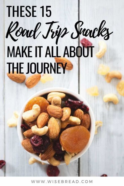 Got a road trip adventure coming up? You'll need some snacks to sustain yourselves while driving. Here are 15 delicious, frugal road trip snacks to keep you going. | #frugal #roadtrip #roadtrips