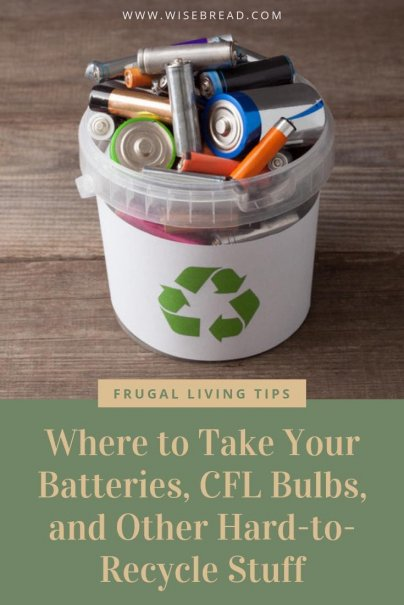Want to me more eco friendly and green? Make sure you know where to recycle these household items! From batteries, to CFL bulbs and other hard to recycle stuff, we'll show you how to properly dispose these tricky items! | #recycling #greenliving #recycle