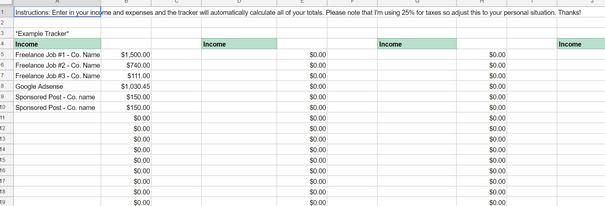 spreadsheet to track spending